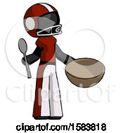 Black Football Player Man With Empty Bowl And Spoon Ready To Make Something