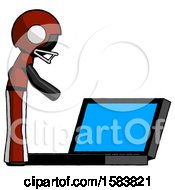 Black Football Player Man Using Large Laptop Computer Side Orthographic View