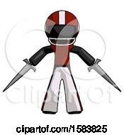 Black Football Player Man Two Sword Defense Pose