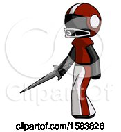 Black Football Player Man With Sword Walking Confidently