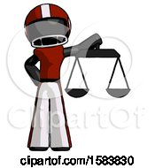 Black Football Player Man Holding Scales Of Justice