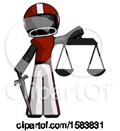Black Football Player Man Justice Concept With Scales And Sword Justicia Derived