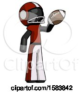 Black Football Player Man Holding Football Up