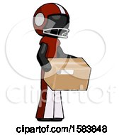 Black Football Player Man Holding Package To Send Or Recieve In Mail