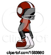 Black Football Player Man Kneeling Angle View Right
