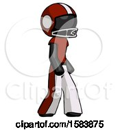 Black Football Player Man Walking Turned Right Front View