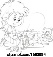 Clipart Of A Lineart Girl Coloring Royalty Free Vector Illustration