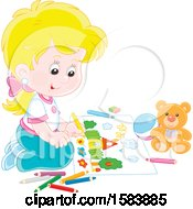 Clipart Of A Blond Caucasian Girl Coloring Royalty Free Vector Illustration
