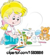 Clipart Of A Blond White Girl Coloring Royalty Free Vector Illustration