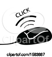 Clipart Of A Black And White Clicking Computer Mouse Royalty Free Vector Illustration