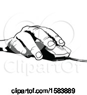 Black And White Hand On A Computer Mouse