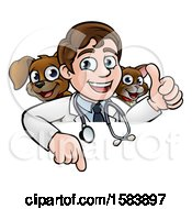 Cartoon Happy May Veterinarian With A Dog And Cat Over A Sign
