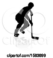 Poster, Art Print Of Silhouetted Hockey Player With A Reflection Or Shadow
