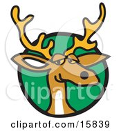 Curious Deer With Antlers Over A Green Circle Clipart Illustration