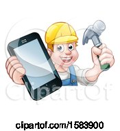 Poster, Art Print Of White Male Carpenter Holding A Hammer And Cell Phone Over A Sign