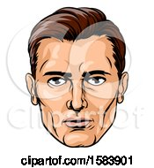Clipart Of A Caucasian Businessman Face In Pop Art Style Royalty Free Vector Illustration