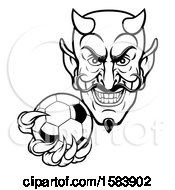 Clipart Of A Black And White Grinning Evil Devil Holding Out A Soccer Ball In A Clawed Hand Royalty Free Vector Illustration