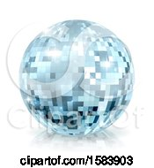 Poster, Art Print Of Sparkly Blue Disco Mirror Ball On A Shaded White Background
