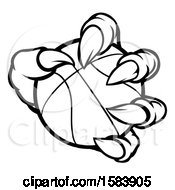 Clipart Of A Black And White Monster Claw Holding A Basketball Royalty Free Vector Illustration