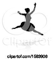Silhouetted Ballerina Dancing With A Reflection Or Shadow On A White Background