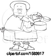 Cartoon Lineart Black Woman Holding A Spoon And Pot While Cooking Soup