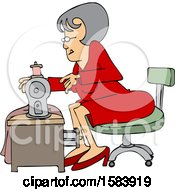 Cartoon Seamstress Woman Sewing A Dress