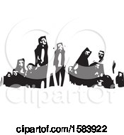 Clipart Of A Black And White Woodcut Group Of Refugees Royalty Free Vector Illustration
