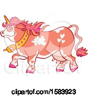 Clipart Of A Walking Pink Swiss Unicorn Unicorns Do Exist In Switzerland Royalty Free Vector Illustration