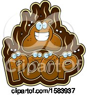 Clipart Of A Happy Stinky Pile Of Poop Character Over Text Royalty Free Vector Illustration