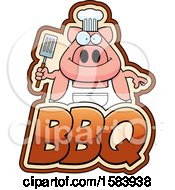 Clipart Of A Grilling Chef Pig Holding A Spatula Over Bbq Text Royalty Free Vector Illustration