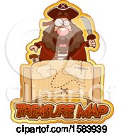 Clipart Of A Pirate Holding A Sword Over A Treasure Map And Text Royalty Free Vector Illustration