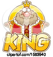Clipart Of A Chubby King Over Text Royalty Free Vector Illustration