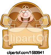 Clipart Of A Drunk Monk Holding Beer Mugs Over A Blank Banner Royalty Free Vector Illustration