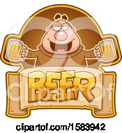 Clipart Of A Drunk Monk Holding Beer Mugs Over A Text Banner Royalty Free Vector Illustration