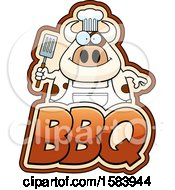 Clipart Of A Grilling Chef Cow Holding A Spatula Over Bbq Text Royalty Free Vector Illustration