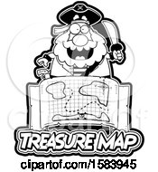 Black And White Pirate Holding A Sword Over A Treasure Map And Text