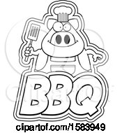 Clipart Of A Lineart Grilling Chef Pig Holding A Spatula Over Bbq Text Royalty Free Vector Illustration