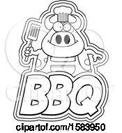 Clipart Of A Lineart Grilling Chef Cow Holding A Spatula Over Bbq Text Royalty Free Vector Illustration