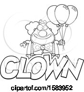 Clipart Of A Lineart Clown With Balloons And Text Royalty Free Vector Illustration
