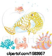 Clipart Of A Group Of Sea Creatures Royalty Free Vector Illustration