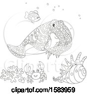 Clipart Of A Lineart Group Of Sea Creatures Royalty Free Vector Illustration