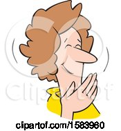 Cartoon Middle Aged Caucasian Woman Covering Her Mouth And Laughing