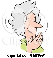 Cartoon Senior Caucasian Woman Covering Her Mouth And Laughing