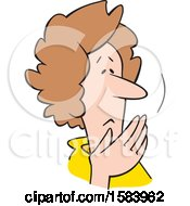 Clipart Of A Cartoon Worried Middle Aged Caucasian Woman Covering Her Mouth Oh My Royalty Free Vector Illustration