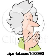 Clipart Of A Cartoon Worried Senior Caucasian Woman Covering Her Mouth Oh My Royalty Free Vector Illustration by Johnny Sajem