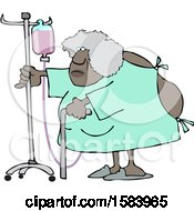 Cartoon Hospitalized Black Woman Walking Around With An Intravenous Drip Line