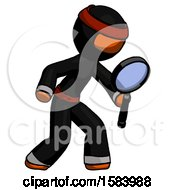 Orange Ninja Warrior Man Inspecting With Large Magnifying Glass Right