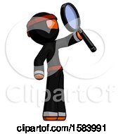 Orange Ninja Warrior Man Inspecting With Large Magnifying Glass Facing Up