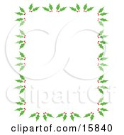 Stationery Border Of Holly And Berries Over A White Background