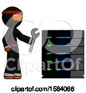 Orange Ninja Warrior Man Server Administrator Doing Repairs